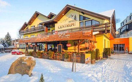 Zimní Krkonoše v Hotelu Centrum Harrachov *** s bazénem, saunou, procedurami, polopenzí + slevová karta