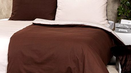 Trade Concept Bavlněné povlečení Doubleface hnědá / béžová, 140 x 200 cm, 70 x 90 cm