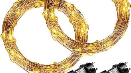 VOLTRONIC 68047 Sada 2 kusů světelných drátů - 200 LED, teple bílá