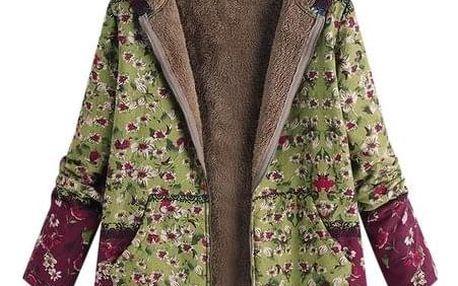 Dámský kabát s květinovým potiskem