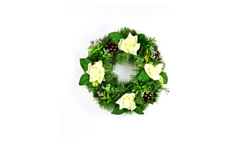 Dušičkový věnec s růžemi 25 cm, bílá