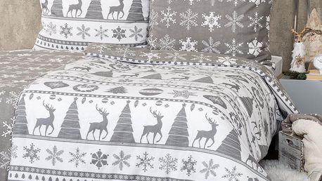 4Home Vánoční flanelové povlečení Christmas Time šedá, 140 x 220 cm, 70 x 90 cm
