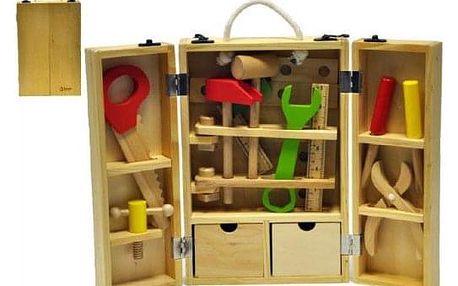 Teddies 54373 Nářadí dřevo 30ks v dřevěném kufříku 31,5x20,4x7,7cm