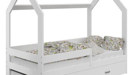Dětská postel Domek 80x160 cm D3, rošt ZDARMA - bílá s matrací šedá bílá
