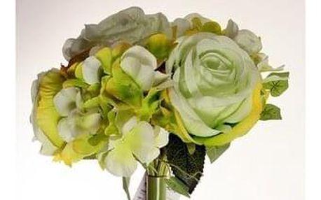Umělá kytice Růže s hortenzií zelená, 26 cm