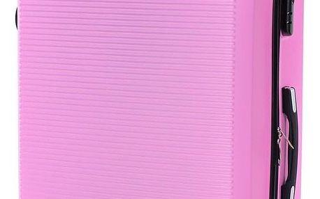 Pretty UP Cestovní skořepinový kufr ABS03 L, růžová