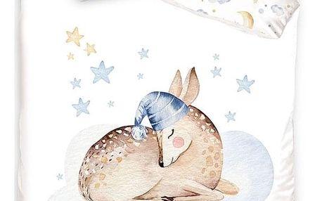 Tiptrade Dětské bavlněné povlečení do postýlky Spící Srnka, 100 x 135 cm, 40 x 60 cm