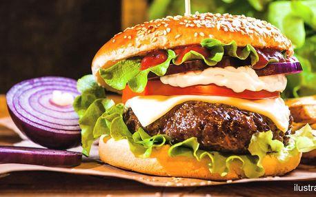 Burger z hovězího masa s hranolkami pro 1 i 2 os.