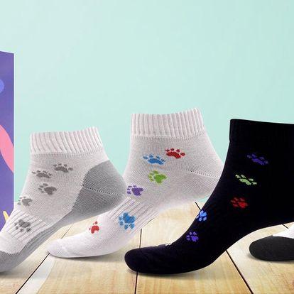 Kotníkové ponožky s motivem psích tlapek