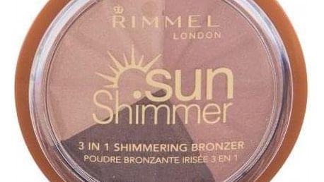 Rimmel London Sun Shimmer 3in1 9,9 g pudrový bronzer se shimmerem pro ženy 002 Bronze Goddess