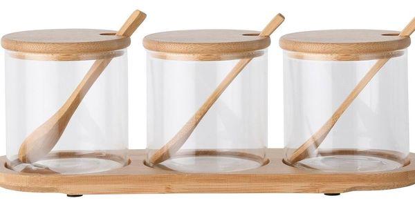 4Home Sada skleněných dóz s podnosem a lžičkami Bamboo, 310 ml2