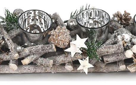 Adventní ratanový svícen Invierno šedá, 42 x 14 cm