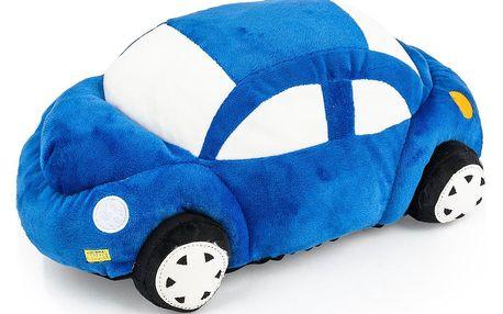 JAHU Tvarovaný polštářek Autíčko modrá, 33 x 15 cm