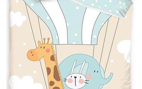 Tiptrade Dětské bavlněné povlečení do postýlky Zvířátka v balónu, 100 x 135 cm, 40 x 60 cm