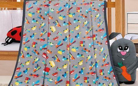 Bellatex Dětská deka Ella Autíčka šedá, 100 x 155 cm