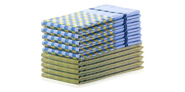 DecoKing Kuchyňská utěrka Louie žlutá a modrá, 50 x 70 cm, sada 10 ks
