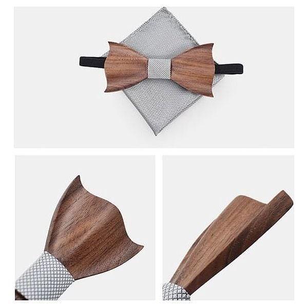 Dřevěný motýlek s kapesníčkem a knoflíčky, vzor M161-1044