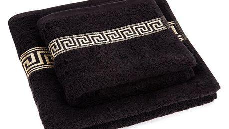 Profod Sada ručníku a osušky Greek černá, 50 x 90 cm, 70 x 130 cm