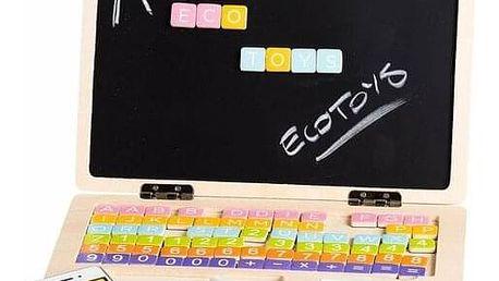 Ecotoys Dřevěný notebook s magnetickým monitorem, 30 x 22 x 22 cm