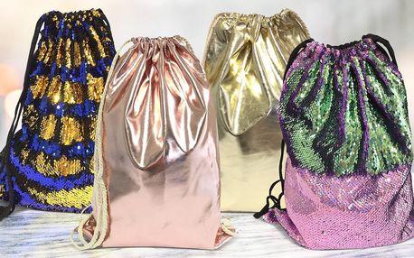 Vaky na záda s flitry nebo v metalických barvách