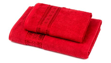Jahu Sada Strook ručník a osuška červená, 70 x 140 cm, 50 x 90 cm