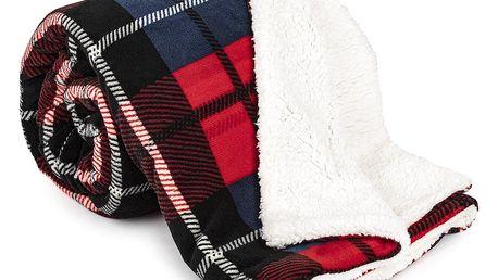 4Home Beránková deka Kostka červená, 150 x 200 cm