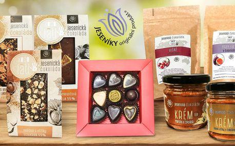 Prémiové balíčky čokolád a čoko krémů z Jeseníků