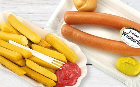 Originální marcipán: párky, hranolky i kuře
