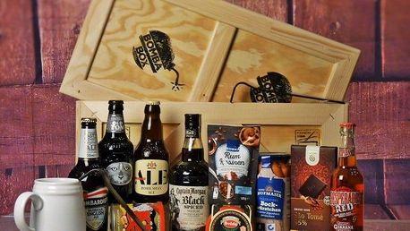 Dárková bedna s páčidlem pro muže Captain Morgan Black a piva maxi