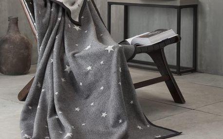 Ibena Pléd IBENA My Living Style hvězdičky 150x200 cm tm. šedá