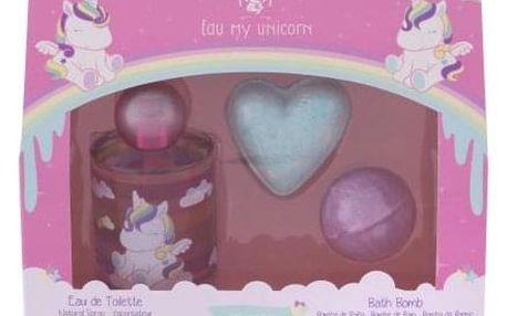 Eau My Unicorn Eau My Unicorn dárková kazeta pro děti toaletní voda 100 ml + šumivá bomba do koupele 40 g + šumivá bomba do koupele 50 g