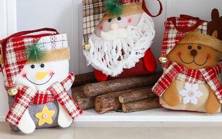 Vánoční dárkové tašky: sob, sněhulák a Santa