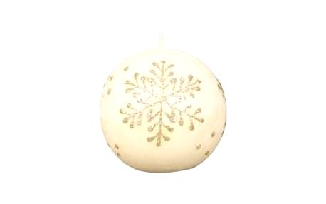 Svíčka vánoční VLOČKA KOULE d8cm