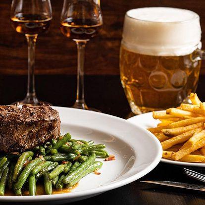 Steak z hovězí svíčkové, pivo i rum pro 1 nebo 2