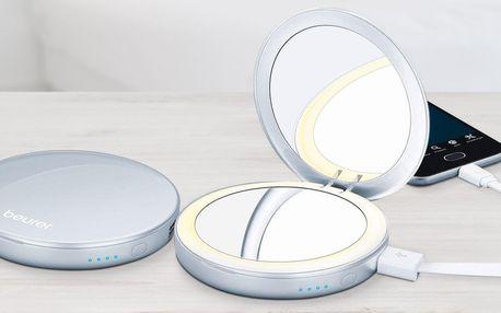 Kosmetické zrcátko s powerbankou a LED světýlkem