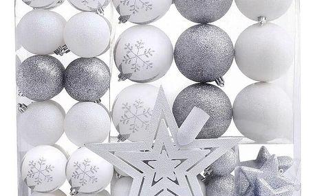 DecoKing Sada vánočních ozdob Lux bílá, 76 ks