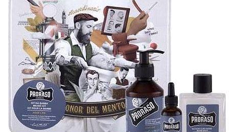 PRORASO Azur Lime Beard Wash dárková kazeta pro muže šampon na vousy 200 ml + balzám na vousy 100 ml + olej na vousy 30 ml + plechová dóza
