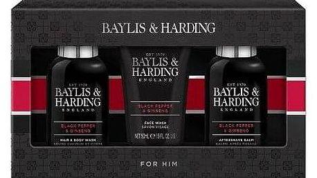 Baylis & Harding For Him Black Pepper & Ginseng Collection dárková kazeta pro muže sprchový gel Black Pepper & Ginseng 100 ml + čisticí gel na obličej Black Pepper & Ginseng 100 ml + balzám po holení Black Pepper & Ginseng 50 ml