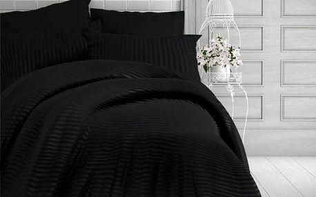 Kvalitex Saténové povlečení Stripe černá, 220 x 200 cm, 2 ks 70 x 90 cm