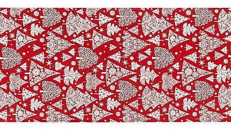 Dakls Vánoční běhoun Stromeček červená, 32 x 140 cm