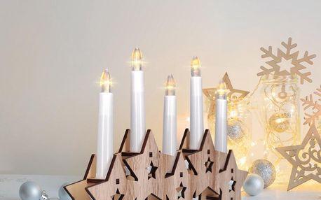 Solight Dřevěný svícen Hvězdy s 5 LED svícemi, teplá bílá