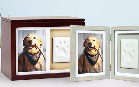 Sada na otisk psích tlapek: rámeček, hlína aj.