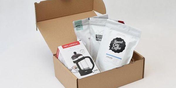Kávový balíček - 3 pytlíky kávy + 1 french press, V pohodlí domova (Celá ČR)5