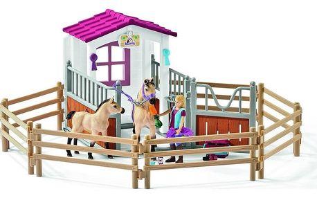 Schleich Stáj s arabskými koňmi a ošetřovatelkou, 40 x 45 x 17 cm