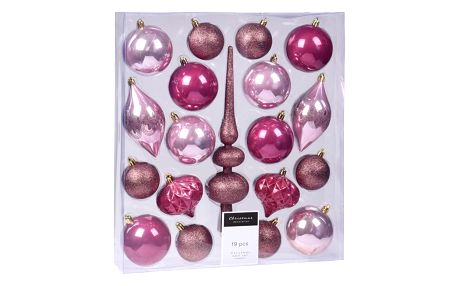 Sada vánočních ozdob Clotte růžová, 19 ks