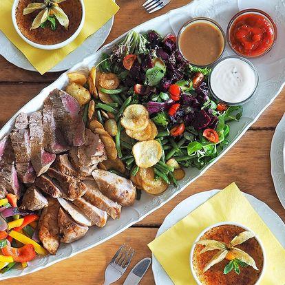 Kubánské menu pro dva: 600 g masa a spousta příloh