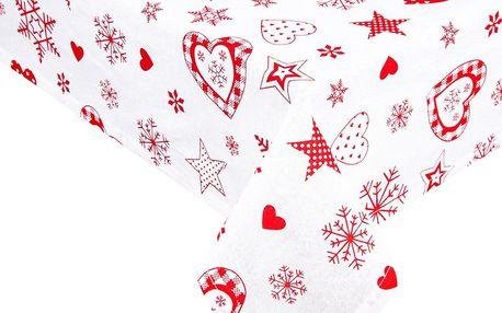 Forbyt Vánoční ubrus Vločka a srdce červená