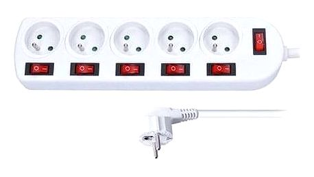 Solight prodlužovací přívod, 5 zásuvek, bílý, 6x vypínač, 3m PP144