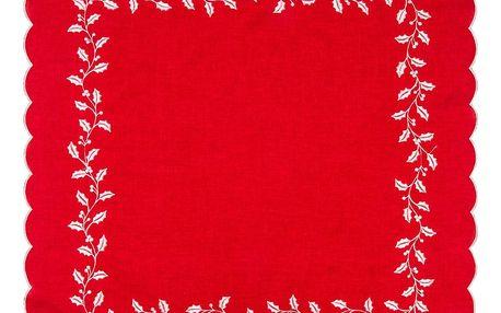 Forbyt Vánoční ubrus Cesmína červená