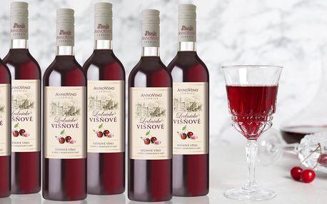 6 lahví oceňovaného višňového vína z Lednice